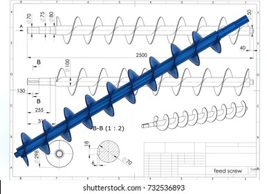 3d illustration of archimedes screw above the engineering drawing
