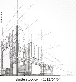3D illustration architecture building construction abstract background.