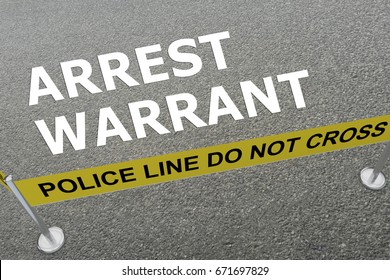 "3D illustration of ""ARREST WARRANT"" title on the ground in a police arena"