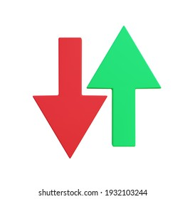3d illustration of arrow down and up with white background