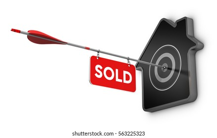 3D illustration of an arrow and sold sign hitting the center of a home shaped target, Real estate concept over white background