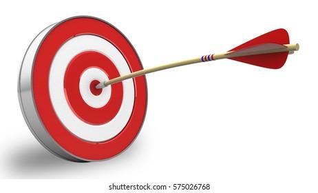 3D-Abbildung eines Pfeils mit Ziel auf weißem Hintergrund