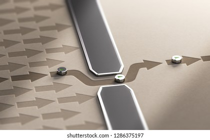 3d illustration of arrows blocked by a wall plus one passing through a breach. Circumvent censorship or getting around difficulties concept.