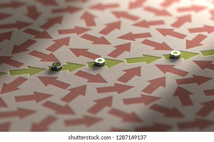 3D illustration of arrows going straight ahead sourounded by many other in a mess. Organization vs disorganization or rationality versus irrationality concept