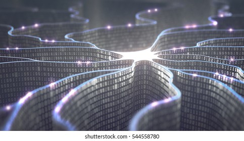 3D illustration. Artificial neuron in concept of artificial intelligence. Wall-shaped binary codes, transmission lines of pulses and/or information in an analogy to a microchip.