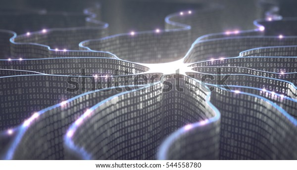 3D-Abbildung. Künstliche Neuron im Konzept der künstlichen Intelligenz. Wandförmige Binärcodes, Übertragungsleitungen von Impulsen und/oder Informationen in Analogie zu einem Mikrochip.