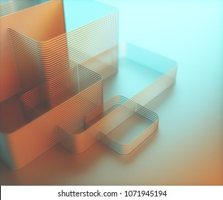 3D illustration. Artistic abstract tubular structure. Image with light and colorful shadow in blue and orange.
