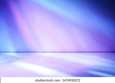 3D Illustration. Artistic studio wall background in tones of purple through magenta for product placement or use as a design template