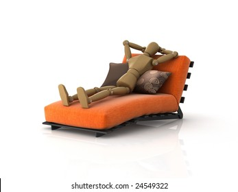 3D illustration of an artist's mannequin relaxing on a chaise longue.