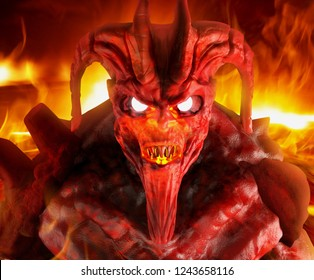 3d illustration artwork of a hellish demon creature face with glowing eyes close up standing on inferno fire background.