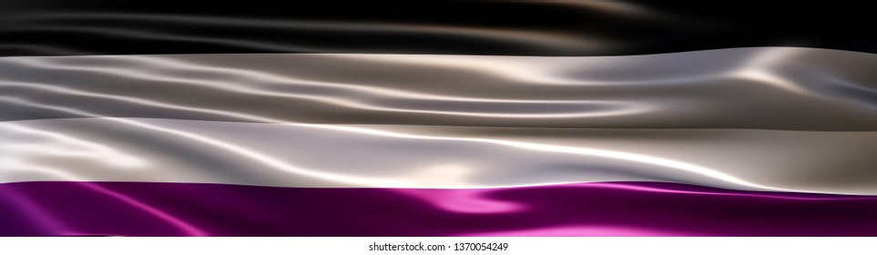 3D Illustration of the Asexual Pride Flag rendered in large wide format