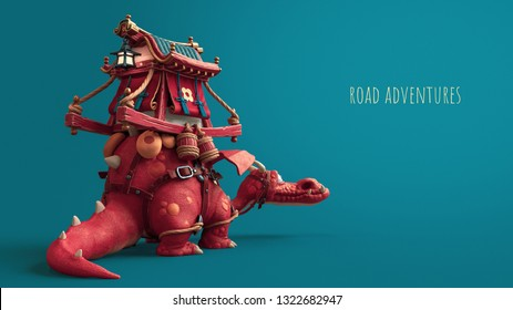 3d illustration of an Asian cute red cartoon dragon with trader's cart on his back. Fabulous road adventure on the dragon. Palanquin trader with bright colors and gold. 3d rendering on blue background