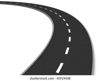 3d illustration of asphalt road curve over white background