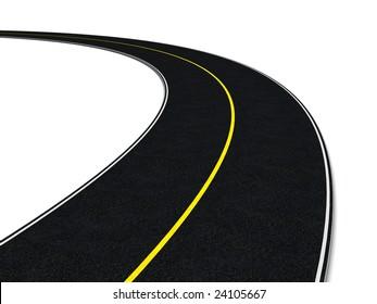 3d illustration of asphalt road over white background
