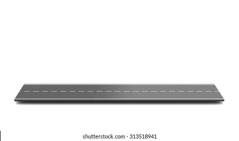 3D-Illustration von Asphaltstraßenstück auf weißem Hintergrund