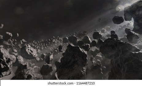 A 3d illustration of an asteroid field.