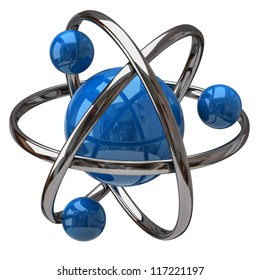 3d illustration of atom isolated on white background