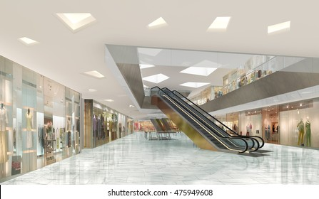 3d illustration of atrium in a shopping mall