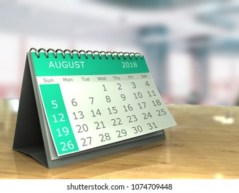 3d illustration of august 2018 calendar on office table