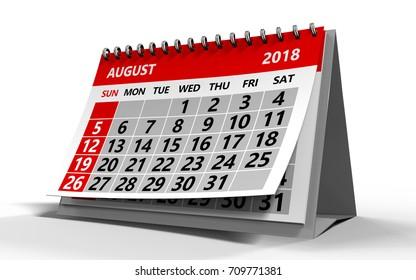 3d illustration of august 2018 calendar