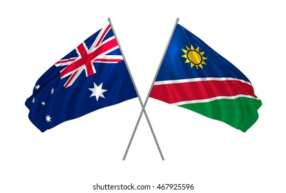 3d illustration of Australia and Namibia flags waving