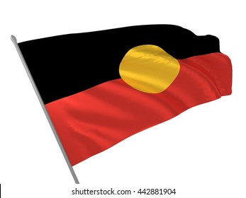 3d illustration of Australian Aboriginal flag waving in the wind