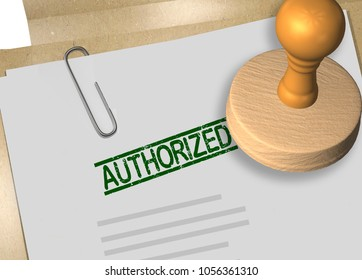 3D illustration of AUTHORIZED stamp title on business document or contract