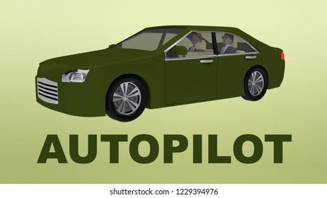 3D illustration of AUTOPILOT title under an autonomous car with two passengers