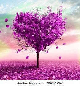 3D illustration - Autumn tree in the shape of a heart, purple color