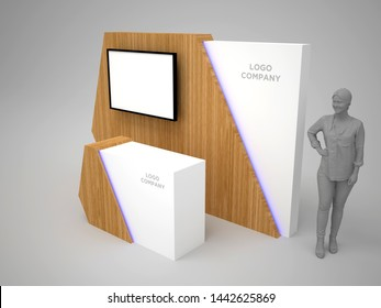 3d illustration backdrop TV LED plasma wooden texture and blank space for logo company with receptionist table for exhibition. High resolution image isolated.