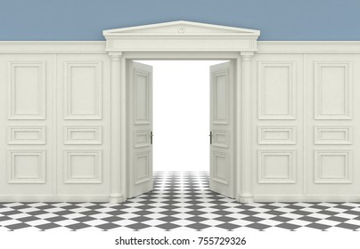 3D illustration. Background with classic wall with wooden panelling and double open doors