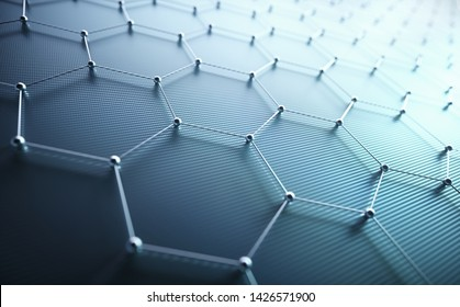 3D illustration background. Conceptual abstract image with hexagonal structure connection. Graphene concept.
