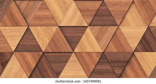 3d illustration. Background image of three-dimensional triangles of the same size, located at different heights, with a shadow and with the texture of natural and painted wood. Wood panel. Render