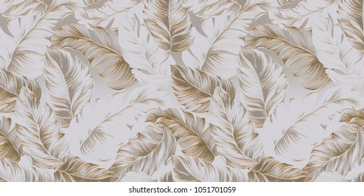 3d illustration. A background in the style of the tropics. Voluminous golden-white palm leaves, leaves of tropical plants, on a relief white-gold background. Celebratory background, wallpaper, 3D ren