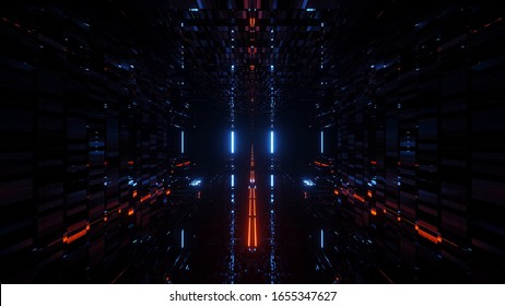 3d illustration background wallpaper of beautiful futuristic science-fiction tunnel corridor with cool reflections, endless 3d rendering space hangar with glass bottom graphic artwork