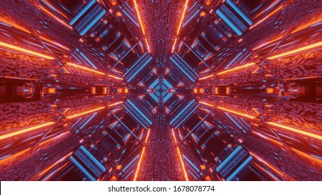 3d illustration background wallpaper graphic artwork of a futuristic scifi space ship hangar tunnel corridor passageway with glowing neon lights and cool reflections,