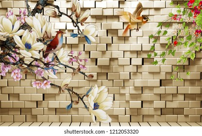 3d illustration, background with white brick wall, warm illumination, birds and fabulous flowers
