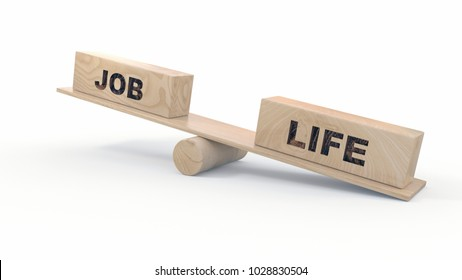 3d illustration of balance between work and life