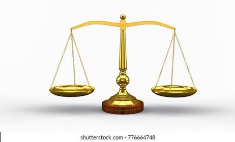 3D illustration balance scale