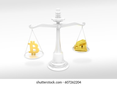3D illustration of balance scales with bitcoin logo on one side and fine gold bars on another. Cryptocurrency exchange rate concept.