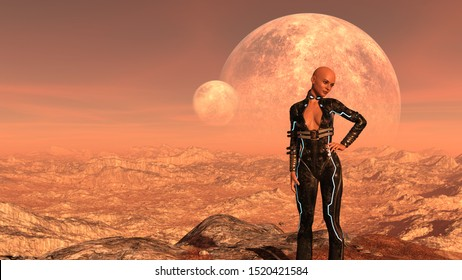 3d Illustration of a bald woman in a tight fitting suit alone on an alien world with hand on hip looking pensively into the distance.
