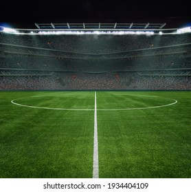 3D illustration!!!! - ball on the green field in soccer stadium. ready for game 2021