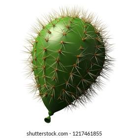 3D illustration Balloon as a green cactus