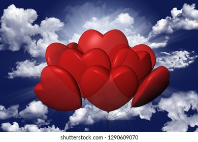 3D illustration. Balloons in the shape of heart. In the background the sky.