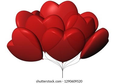 3D illustration. Balloons in the shape of heart. white background.