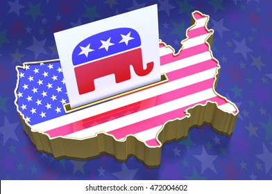 3D Illustration Ballot box in shape of USA map with USA flag superimposed. Ballot paper containing Republican party logo in slot. All on blue background with stars. Kingsburgh, South Africa 21/08/2016