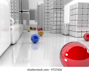 3d illustration, balls different colors and grey city