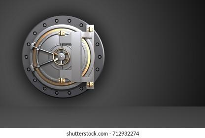 3d illustration of bank door  over black background