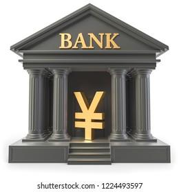 3D Illustration Bank Yen