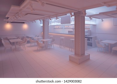 3d illustration. Bar interior in white computer stuff